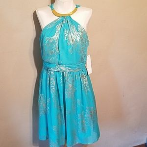 NWT robbie bee evening dress. Gold and turquoise